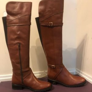 Shoes - Brown leather boots - tall
